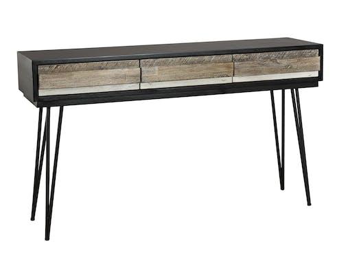Console en Acacia massif noir 3 tiroirs bandes teintes variées et pieds métal noir 140,5x35x81cm CADIX