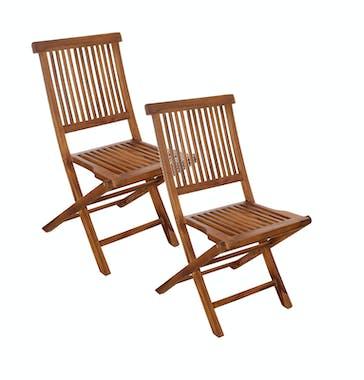 Lot de 2 chaises de jardin en Teck massif huilé 45x60x90cm MACAO