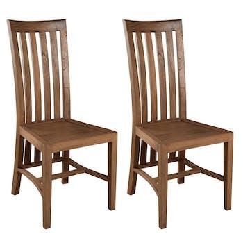 Lot de 2 Chaises en bois exotique couleur Canelle 45,7x62x103cm LOUNA