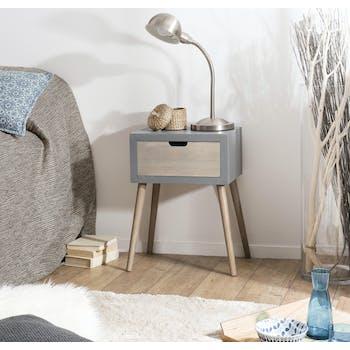 Table de chevet bois gris effet béton 1 tiroir LORENS