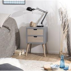 Bout de canapé bois gris effet béton 2 tiroirs LORENS