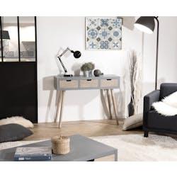 Console en bois couleur gris béton 3 tiroirs et pieds couleur naturelle 100x34x77cm LORENS