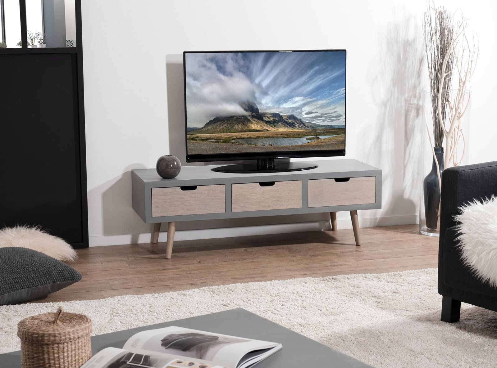 Meuble TV moderne bois gris effet béton LORENS