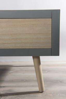 Table basse en bois couleur gris béton, 2 tiroirs couleur naturelle, 1 niche  120x60x39cm LORENS