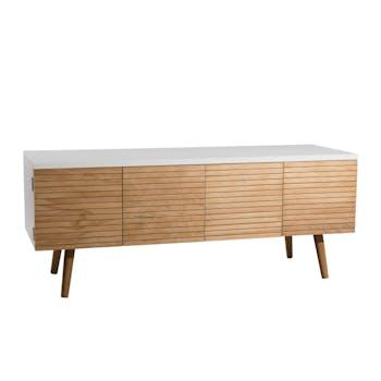Meuble TV blanc moderne bois naturel PEROU