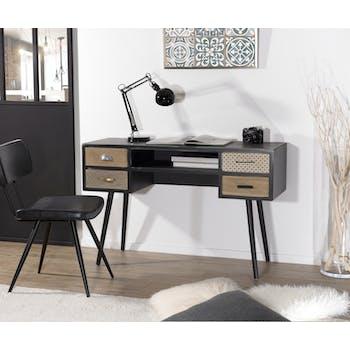 Bureau en bois noir aspect vieilli, 1 niche et 4 tiroirs décor Patchwork 120x41x77cm LEONARD