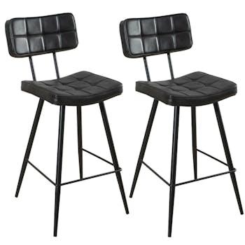 Lot de 2 chaises de bar capitonnées métal tissu noir 43x53x92cm TIM