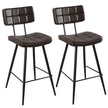 Lot de 2 Chaises de Bar Capitonnées en métal et tissu marron 43x53x92cm TIM
