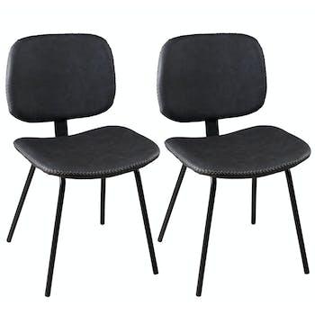 Lot de 2 Chaises en métal et tissu noir 45x53x81cm TIM