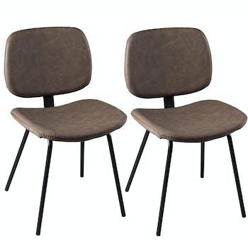 Lot de 2 Chaises en métal et tissu marron 45x53x81cm TIM