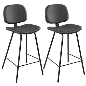 Lot de 2 Chaises de Bar en métal et tissu noir 44x47x94cm TIM