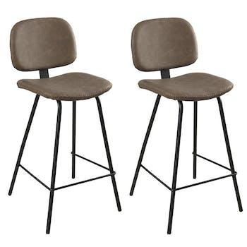 Lot de 2 Chaises de Bar en métal et tissu marron 44x47x94cm TIM