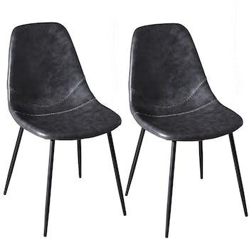Lot de 2 Chaises effet couture apparente en métal et tissu noir 43x54x81cm TIM