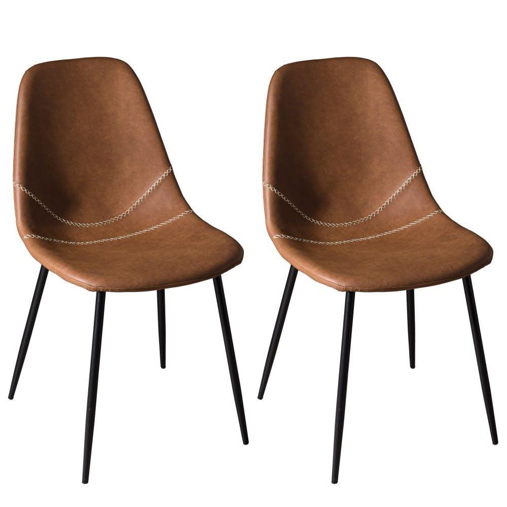 Lot de 2 Chaises effet couture apparente en métal et tissu marron 43x54x81cm TIM