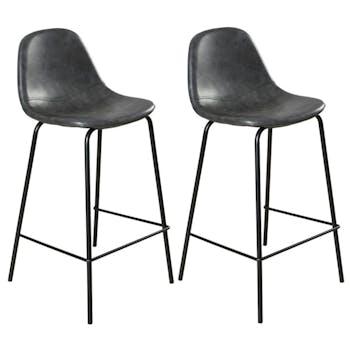 Lot de 2 Chaises de Bar effet couture apparente en métal et tissu noir 41x45x87cm TIM