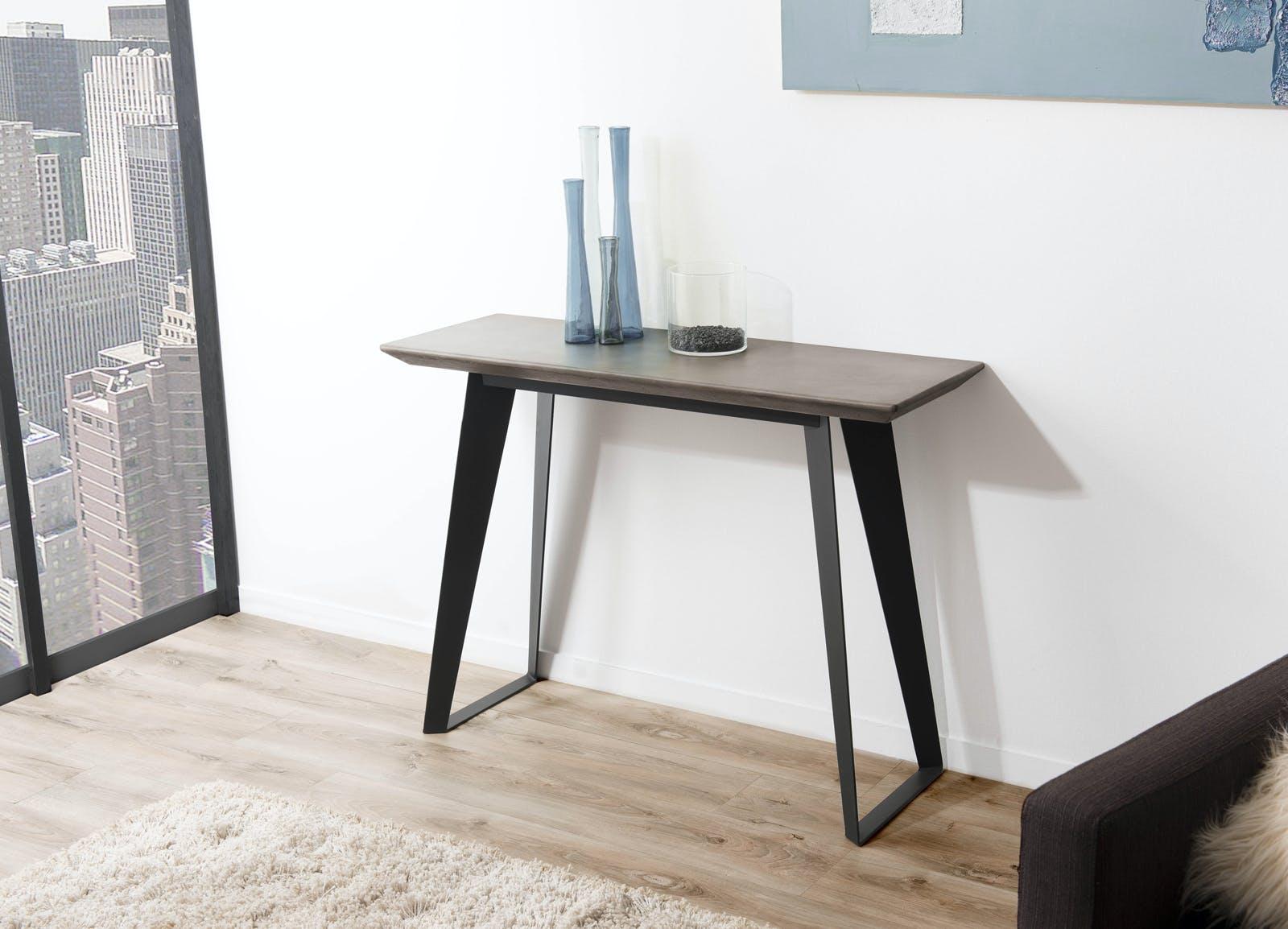 Console plateau Béton gris foncé et pieds métal noir 110x38x80cm NEAL