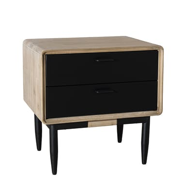 Table de Chevet en Acacia massif couleur naturelle 2 tiroirs noirs et pieds métal 60x45x60cm PALMEIRA