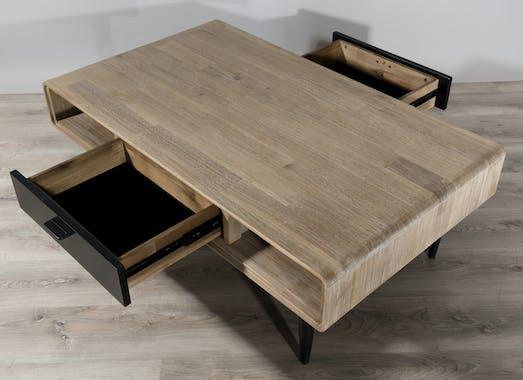 Table basse en Acacia massif couleur naturelle, 2 tiroirs noirs, 2 niches et pieds métal 120x70x42cm PALMEIRA