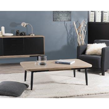 Table basse en Acacia massif couleur naturelle et pieds métal 120x70x38cm PALMEIRA