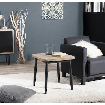 Bout de Canapé / Table de Chevet en Acacia massif couleur naturelle et pieds métal 50x50x50cm PALMEIRA