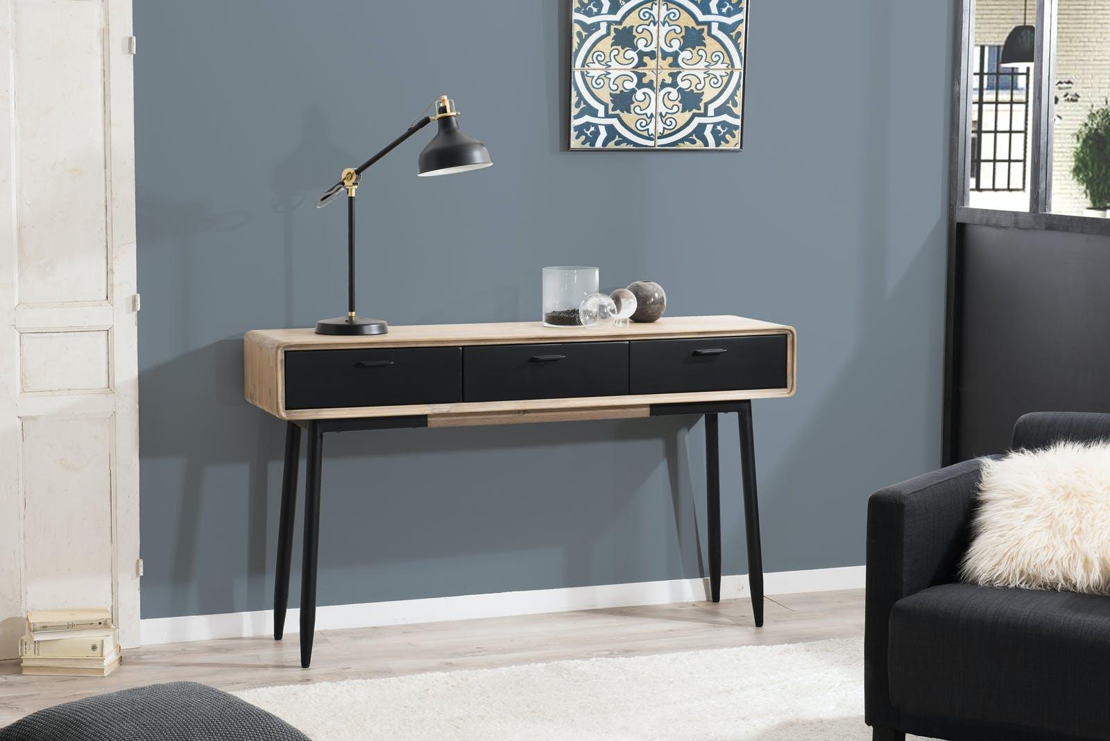 Console en Acacia massif couleur naturelle 3 tiroirs noirs et pieds métal 140x35x80cm PALMEIRA