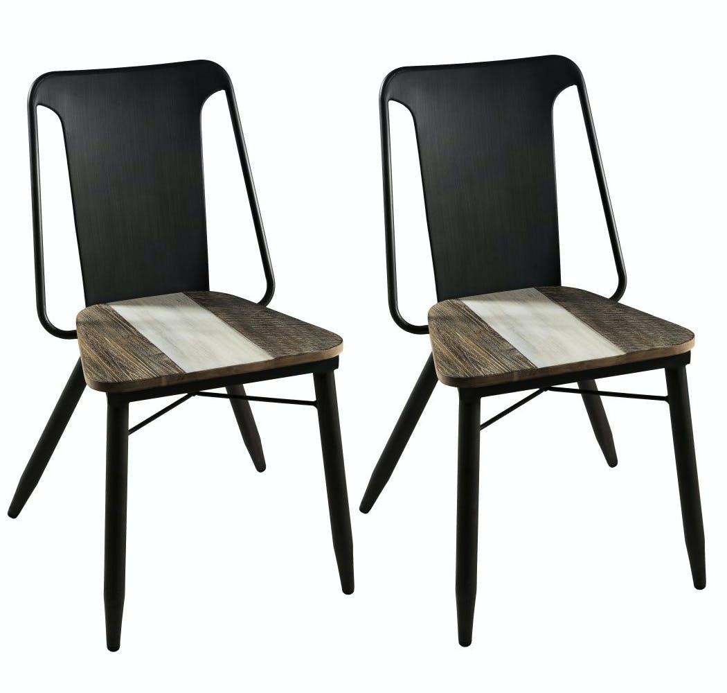 Lot de 2 Chaises en Acacia dégradé en couleurs et métal 53x54x83cm MATHYS
