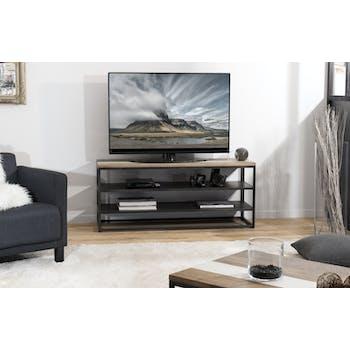 Meuble TV en Acacia dégradé en couleurs et métal 2 étagères 130x40x56cm MATHYS