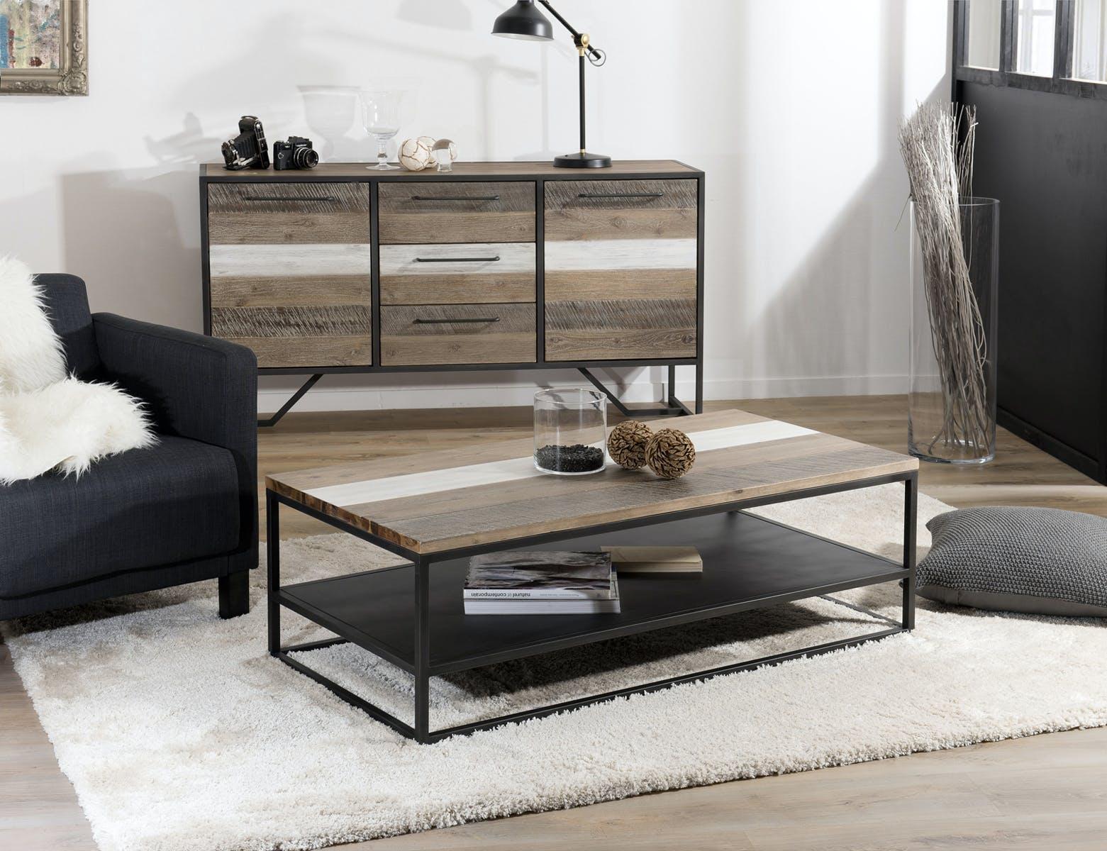 Table basse double plateau Acacia dégradé couleurs métal 120x60x40cm MATHYS
