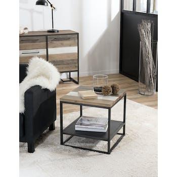 Bout de canapé bois métal carré MATHYS