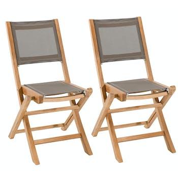 Lot de 2 Chaises de Jardin pliantes Teck Textilène taupe SUMMER ref. 30020802