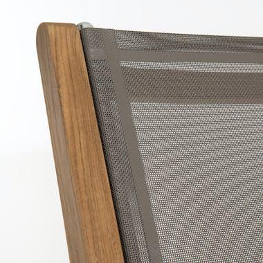 Lot de 2 Fauteuils de Jardin pliants Teck Textilène taupe SUMMER ref. 30020803