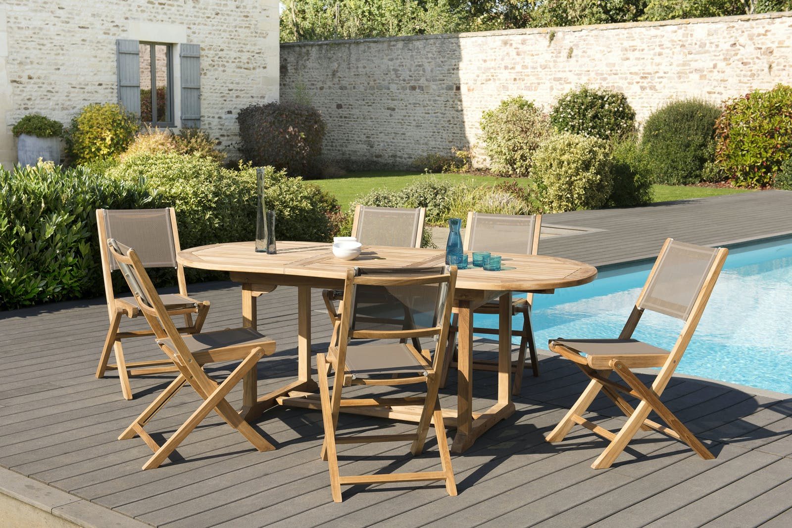 Salon de Jardin Table Teck 150/200cm + 6 Chaises pliantes SUMMER ref. 30020808
