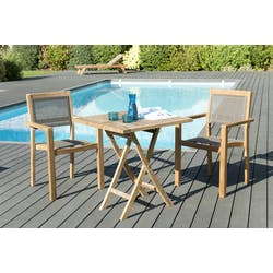 Salon de Jardin Table Teck 70x70cm + 2 Fauteuils empilables SUMMER ...