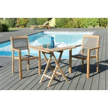 Salon de Jardin Table Teck 70x70cm + 2 Fauteuils empilables SUMMER ref. 30020809