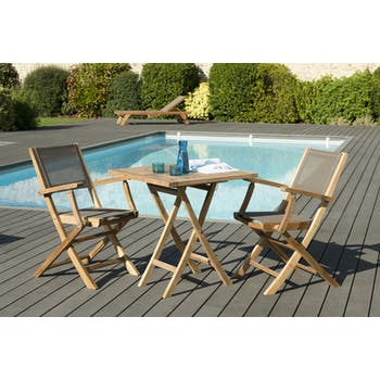 Salon de Jardin Table Teck 70x70cm + 2 Fauteuils pliants SUMMER ref. 30020810