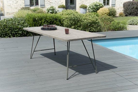 Table de Jardin Teck acier 200x90cm DETROIT ref. 30020811