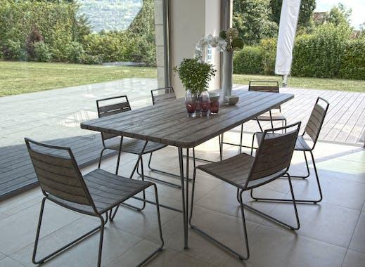 Salon de Jardin Table Teck 200x90cm + 6 chaises empilables DETROIT ref. 30020820