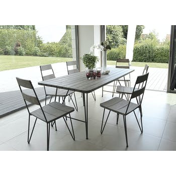 Salon de Jardin Table Teck 200x90cm + 6 chaises DETROIT ref. 30020821