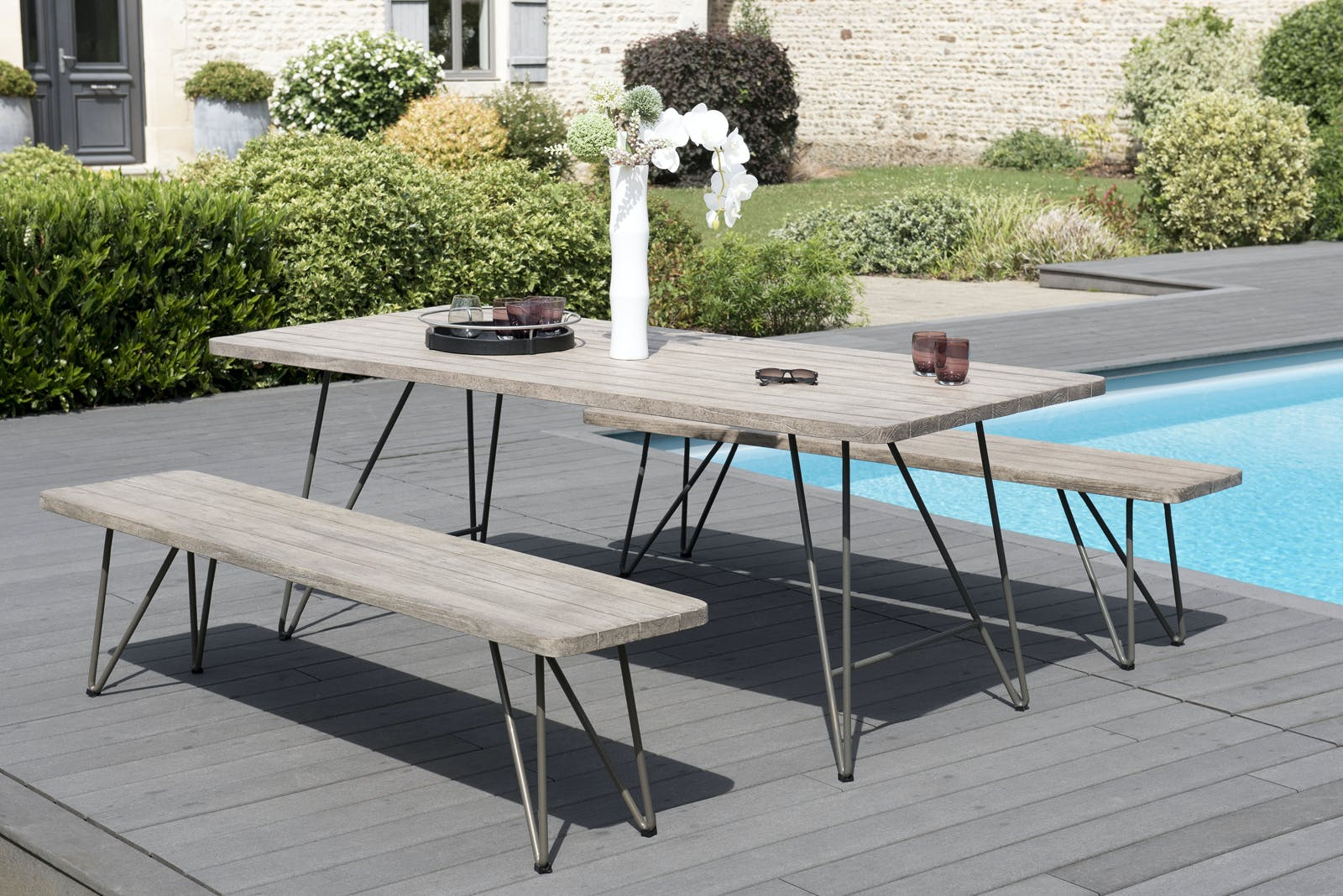 Salon de Jardin Table Teck 200x90cm + 2 bancs DETROIT ref. 30020822