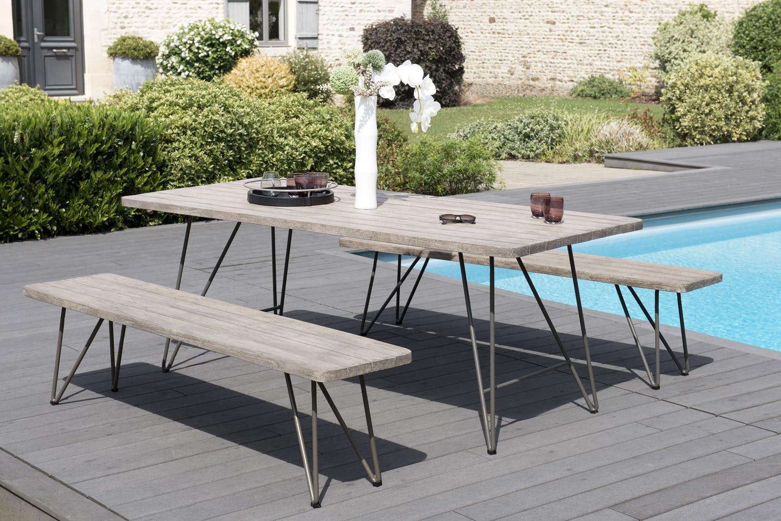Salon de Jardin Table Teck 200x90cm + 2 bancs DETROIT ref. 30020822