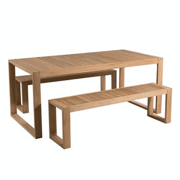 Salon de Jardin Teck Table 180x90cm + 2 bancs BERGEN ref. 30020831