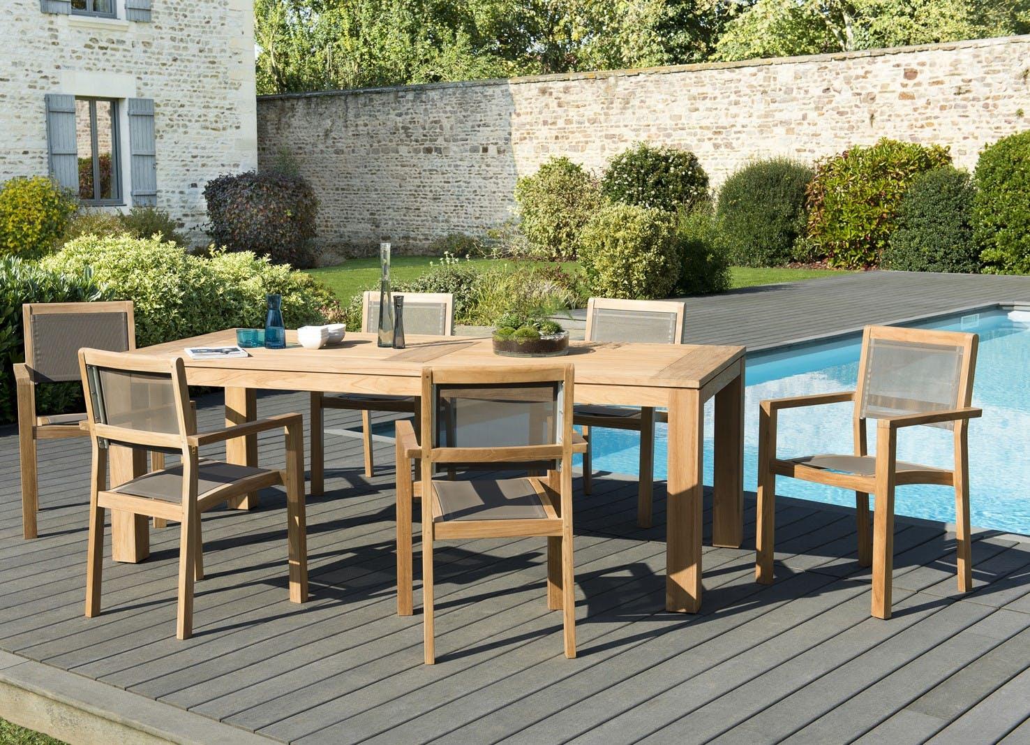 Salon de Jardin Teck Table 220x100 + 6 fauteuils empilables BERGEN ref. 30020837