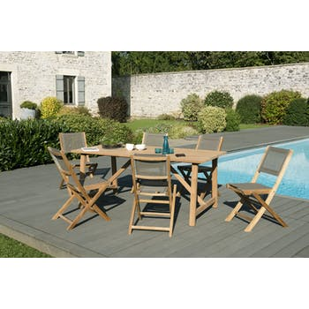Salon de Jardin Teck Table rectangle 180 + 6 chaises SUMMER ref. 30020840