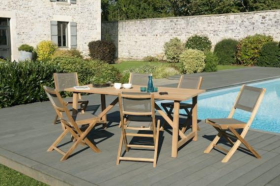 Salon de Jardin Teck Table rectangle 180 + 6 chaises SUMMER ref. 30020840