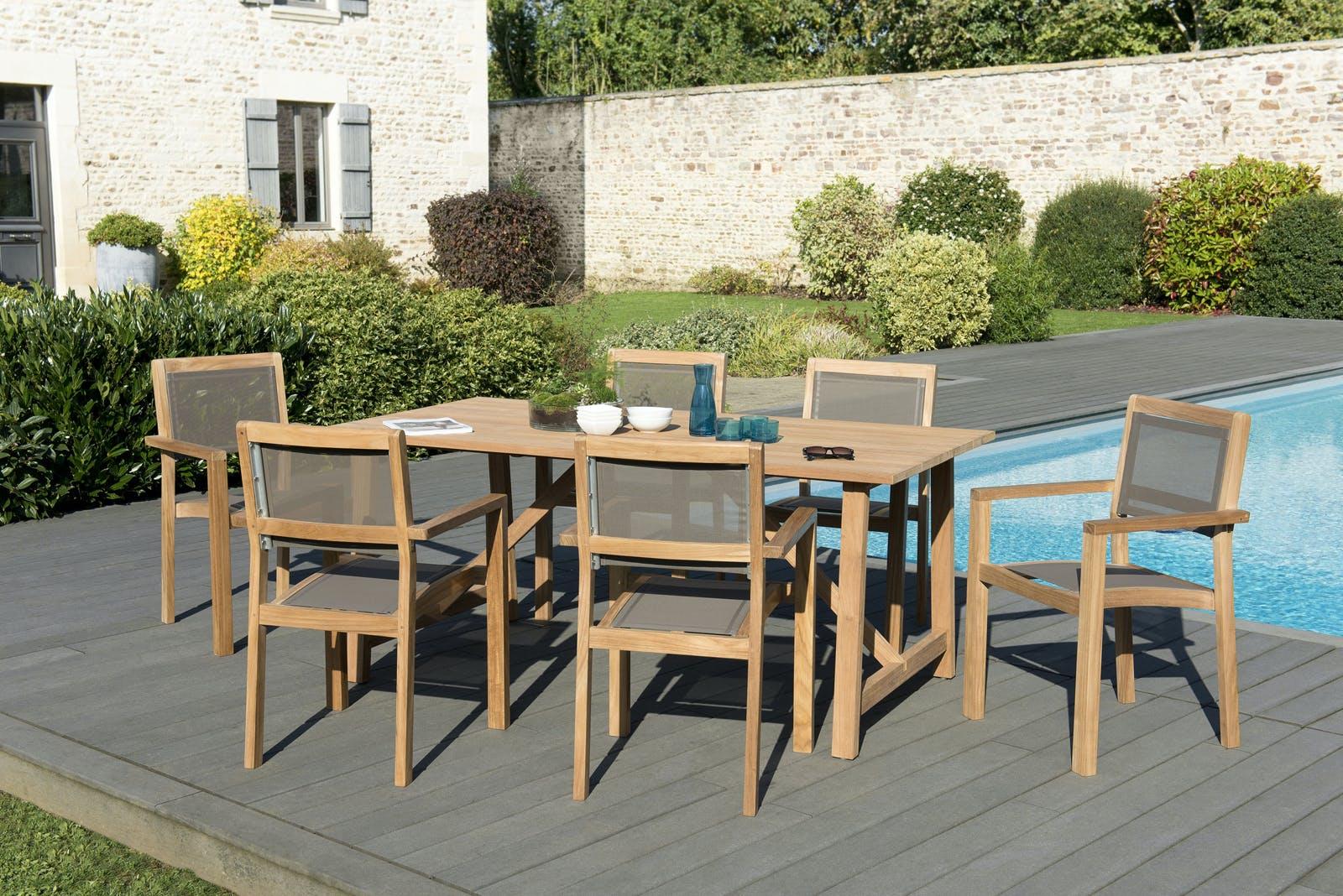 Salon de Jardin Teck Table 180x90 + 6 fauteuils empilables BERGEN ref. 30020841