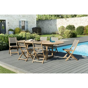 Salon de Jardin Teck Table ovale extensible 180/240 + 6 chaises pliantes SUMMER ref. 30020842