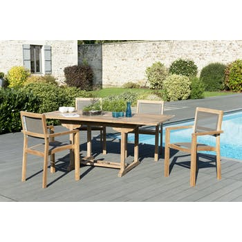 Salon de Jardin Teck Table extensible 120/180 + 4 fauteuils empilables SUMMER ref. 30020843