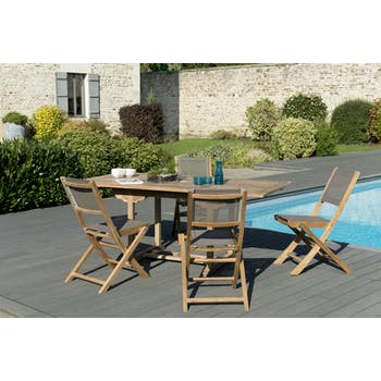 Salon de Jardin Teck Table extensible 120/180 + 4 chaises pliantes SUMMER ref. 30020844