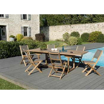 Salon de Jardin Teck Table extensible 180/240 + 6 chaises pliantes SUMMER ref. 30020845