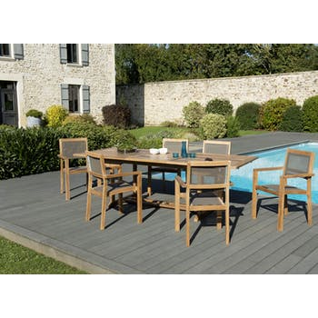Salon de Jardin Teck Table extensible 180/240 + 6 fauteuils empilables SUMMER ref. 30020846